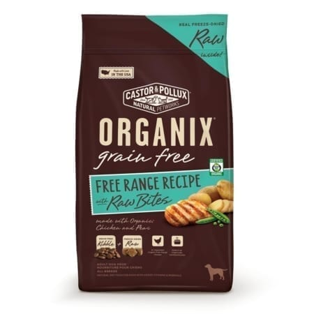 ORGANIX 有機犬糧無穀物放養雞、凍乾魚塊配方-500x500